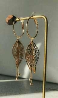 金屬高冷風大摟空樹葉流蘇自然垂墜感耳夾式耳環