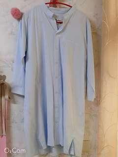 🚚 專櫃Ewear購入全新水藍長版無領襯衫洋