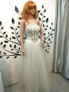 White Wedding Gown with Tulle Skirt