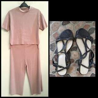 Dusty Pink Ribbed Top + Culotte (One Set) Buy 1 Get 1 Free Flat shoes Charles & Keith