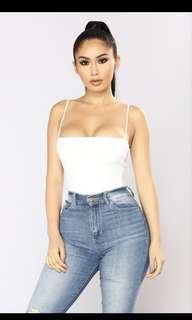 Fashion Nova White Square Neck Bodysuit