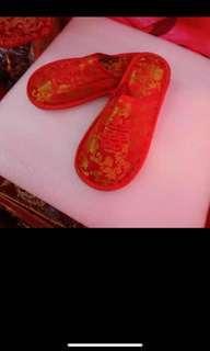 上頭拖鞋 包頭 紅拖鞋(全新)2對