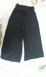 Black Pleated Culottes Ribbon