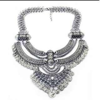 Vintage Design Silver Boho Statement Necklace