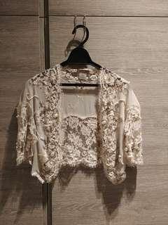 著名晚裝設計師 Hidy Ng 襯手造歐洲 淡粉紅 lace外套, 原價過萬, 現半賣半送, 適合高貴打扮的女士們。