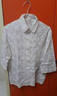 White Kebaya Inspired Floral Lace Shirt