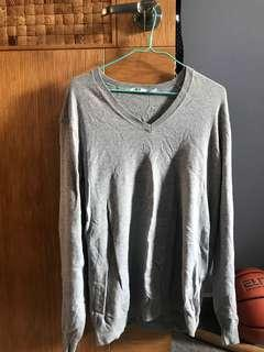 Uniqlo v-neck grey long sleeve top