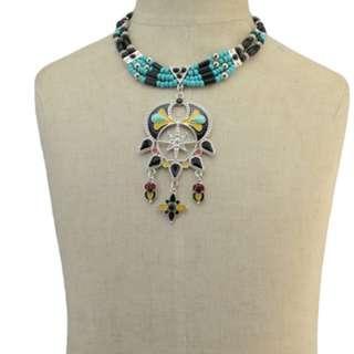 Bohemian Resin Beaded Choker Bib Necklace