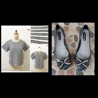 Striped BW Top + Neo Far Be Shoes Buy 1 get 1 free