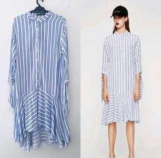 Zara Striped Hem Shirt Dress