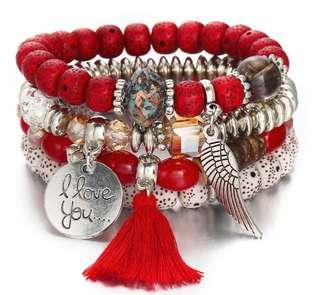 💍Bohemian wing beaded bracelet ( red )