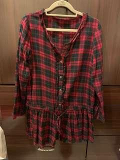 🚚 暗紅色 長袖 襯衫 洋裝