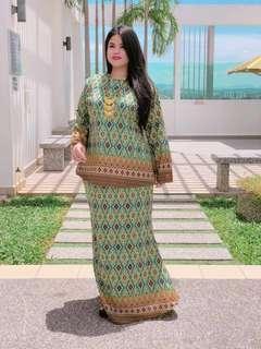 🚚 CFH2200 Kurung Aminah (Songket) - Green