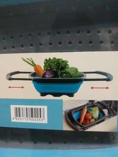 摺疊式洗滌籃 (附設活動手柄) 洗菜籃 筲箕