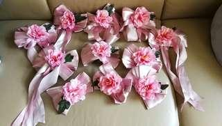 結婚車門花車花共11個(吸盤底) - 純蝴蝶結5個,有絲帶垂下6個