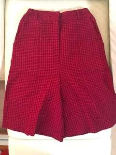 ASOS Sister Jane vintage style red and burgundy checked wide leg shorts pants high waist