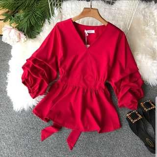 ❤Ravishing Red❤ Trumpet Sleeve V Neck Blouse