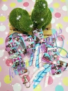 Handmade lol doll lanyard / hair clips / hair ties