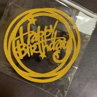 Double Round Happy Birthday Cake Toppers in Gold