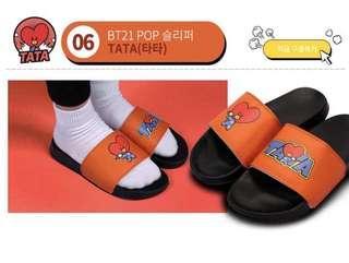 (instock) official BT21 TATA universtar pop face slippers