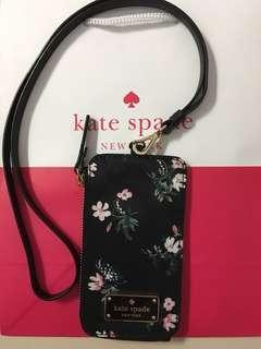 Kate Spade Edria Wilson Road Flora Black Nylon Card Holder Wallet / Lanyard