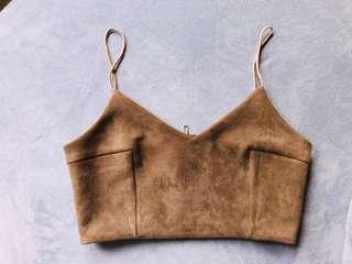 Suedette leather Top in Caramel