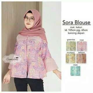 Sora Blouse Batik Pink Pastel - Blouse Batik Kerja