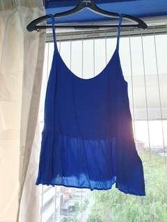 🚚 Topshop electric blue peplum spaghetti strap top/camisole in UK10 #EndgameYourExcess