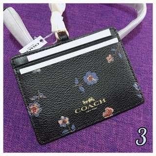 AUTHENTIC NEW COACH ID LANYARD WITH VINTAGE PRAIRIE PRINT (COACH F57095) <<BLACK & MULTI FLORAL>>