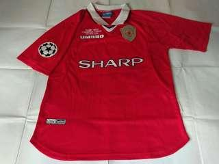 Authentic Never Been Worn Manchester United Umbro 1999 Champions League Final Football Jersey With Solskjaer 20 Print