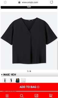 🚚 Uniqlo Drape V-Neck Short-sleeved Blouse in Size S #EndgameYourExcess