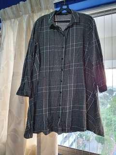 🚚 Zara grey and white plaid/checkered shirt dress in Size M #EndgameYourExcess