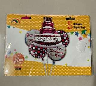 5 balloons happy party