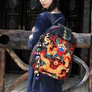 In stock- Original dragon embroidery shoulder bag men and women travel canvas backpack