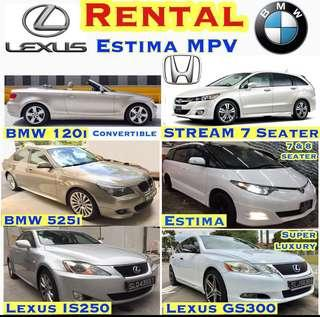 Car Rental ESTIMA MPV BMW 120i Merc E200 Lexus GS300 IS250 Honda Civic Vezel Accord Avante  Convertible Grab