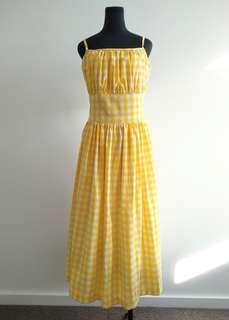 Retro hearts and found yellow gingham midi dress AU 10