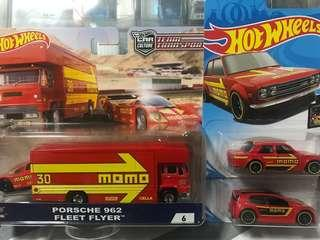 Hotwheels Momo Collection Fleet Flyer, Porsche, Datsun and Golf GTI