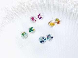 水晶石乾花耳環