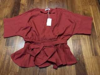 Red Top Butterfly sleeves
