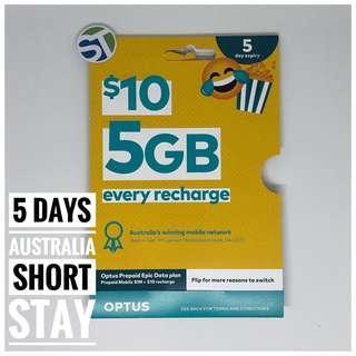 Australia 5GB SIM Card Prepaid Optus Data 3G 4G Mobile Starter Kit Nano AU
