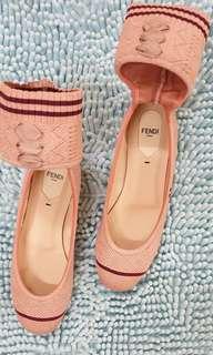 Fendi Size 37.5 stretch fabric ballerinas