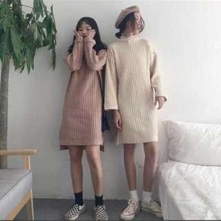 杏色針織連身裙