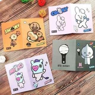 (Pre Order ) Kpop BTS BT21 Cute Hand Travel Notes Protable Journal Diary Book Mini Notepad