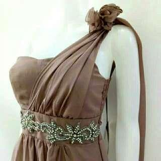 NEW Brown asymmetrical long dress with rose