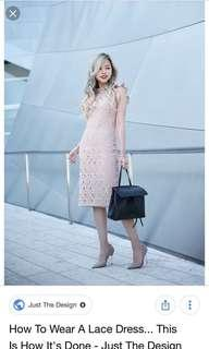 Zara nude pink lace dress
