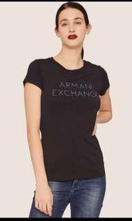 🚚 BNWT Armani Exchange Stud Accebt Minimalist Logo Crew T shittll