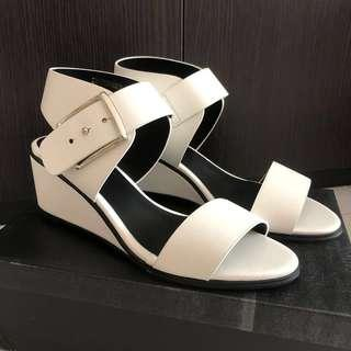 Zalora Oversized Buckle Mid Wedges in White
