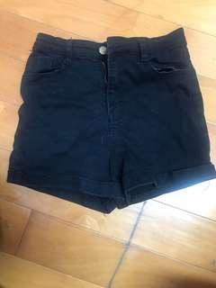 牛仔短褲(黑)