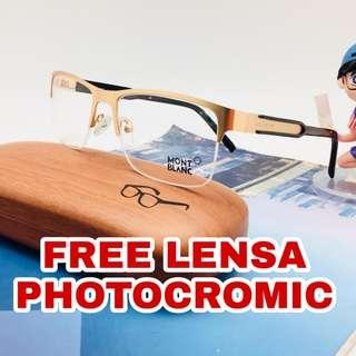 Free lensa anti radiasi photocromic frame kacamata Montblanc 625
