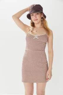 LF UO gingham stretch mini tahoe dress